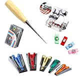 Windman Bias Tape Maker Kit 5Sizes Include 6MM/9MM/12MM/18MM/25MM Fabric Bias Tape Makers for Home DIY Quilting Binding Use with Tape Binding Foot,Awl,Clips and 50Pcs Sewing Pins