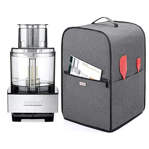 Luxja Cubierta para Procesador de Alimentos, Cubierta Antipolvo para Procesador de Alimentos con Bolsillos para Accesorios, Cuenco de 2,75-3,5 Litros, Gris