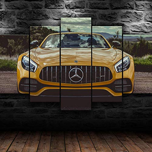5 Piece Canvas Wall Art Modern 5 Pieces Yellow Mercedes AMG GT Super Sports car Canvas Home Deco Art Wall Print Modular Picture,Children's Room Printed Wall Canvas Deco 200X100 Cm