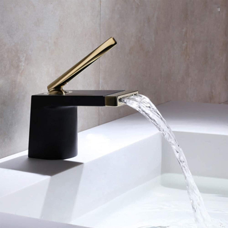 Wasserhahn schwarz Wasserfall Waschtischarmatur Messing Einhand-Warmwasser-Becken Wasserhahn, mattschwarz