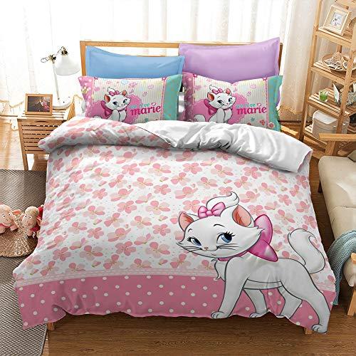 Probuk Juego de cama de Disney Marie Cat rosa, 100 % microfibra, funda nórdica para niña, ropa de cama con funda de almohada (A-08,220 x 240 cm (50 x 75 cm)
