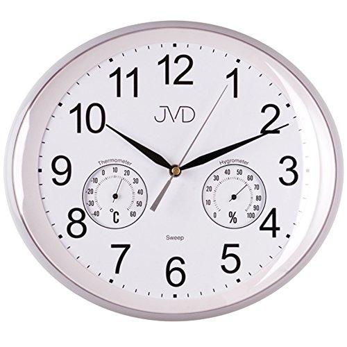 JVD HTP64.1 Wanduhr Baduhr Badezimmeruhr weiß wassergeschützt Hygrometer Thermometer