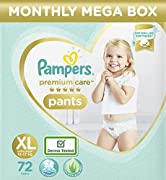New pampers premium pants with new, improved cotton like softness Lotion with aloe vera to protect your baby's delicate skin 3 Air channels which help your baby's skin breathe Wetness indicator which turns from yellow to blue when it may be time to c...