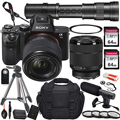 Sony Alpha a7 II Mirrorless Digital Camera with 28-70mm and 420-800mm Telephoto Lens + 2X 64GB Memory Card, UV & Close-up Filters, Microphone, Portable Tripod, Gadget Bag & More