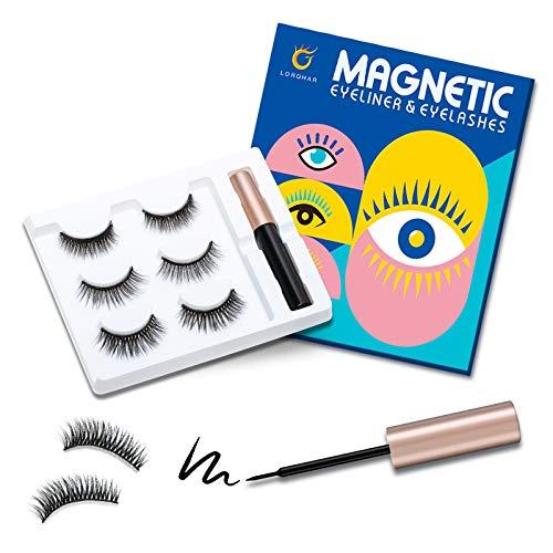 3 Paar Lorchar Magnetische Wimpern,Magnetic Eyeliner Und Magnetic Eyelashes Set,Natürlich...