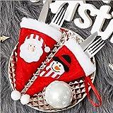 Dulau 10 Piezas Bolsa para Cubiertos Navidad, Navidad Cocina Cubiertos Cuchillo Tenedor Cuchara Papá Noel Muñeco de Nieve Cuchillo Porta Bolsas, Accesorios para la Casa, Restaurante o Decoración