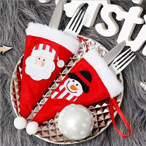 Dulau 10 Piezas Bolsa para Cubiertos Navidad, Navidad Cocina Cubiertos Cuchillo Tenedor...