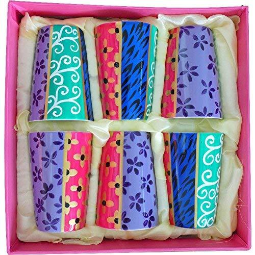 'Zarin' Ein Set von 6 handbemalten Bone Chine Porzellan Bechern für Espresso Kaffee oder Mini- Desserts etc. Luxus-Geschenkbox für besondere Weihnachten, Geburtstag und Haus Geschenke