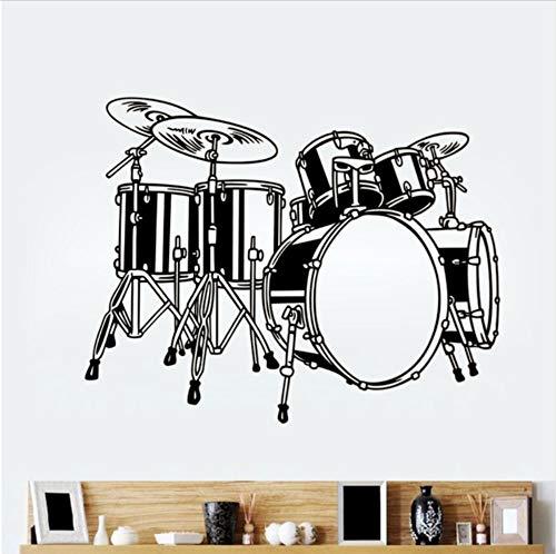 Olivialulu Drum Icon Vinilo Etiqueta de La Pared Sala de Arte Etiqueta de la Música Rock Apliques Decoración Del Hogar Tatuajes de Pared Yy23 72 * 57 CM