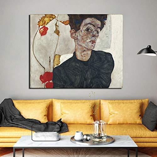 Zxdbh Zelfportret met Chinese lantaarn planten canvas schilderij afdrukken woonkamer Home Decor Moderne muurkunst olieverfschilderij 41x51 cm Geen frame.
