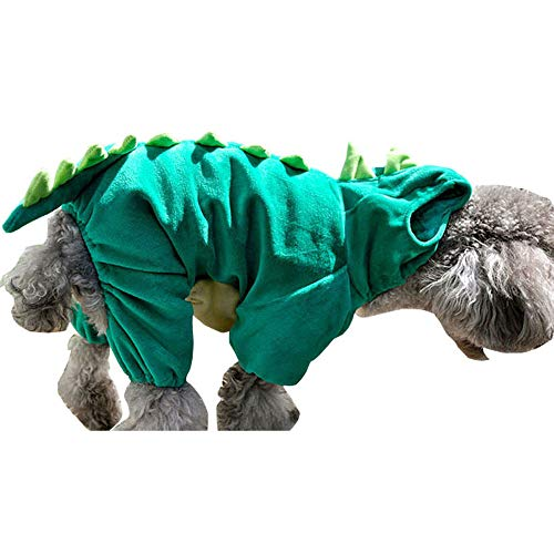 Bro'Bear Pet Dinosaur Costume with Hood for Small Dogs & Cats Outfit Winter Coat Warm Jacket (X-Large)