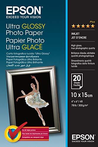 Epson C13S041926 Ultra Glossy Photo Papier Inkjet 300 g / m2 100 x 150 mm, 20 Blatt Pack