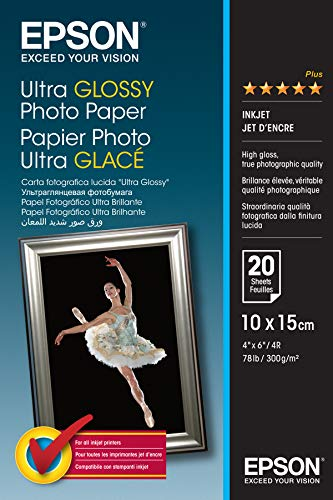 Epson C13S041926 Ultra Glossy Photo Papier Inkjet 300 g / m2 100 x 150 mm, 20 Blatt Pack
