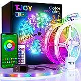 15M/49.2ft LED Strip Lights, Music Sync 5050 LEDLight StripRGB Color Changing LED Lights Strip with PhoneRemote, LED Lights for Bedroom Kitchen TV Party TIKTOK DIY (APP+Remote +Mic)