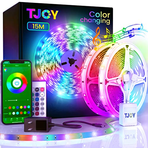 50ftBluetooth LED Strip Lights, Music Sync 5050 LEDLight StripRGB Color Changing LED Lights Strip with PhoneRemote, LED Lights for Bedroom Kitchen TV Party TIKTOK DIY (APP+Remote +Mic)