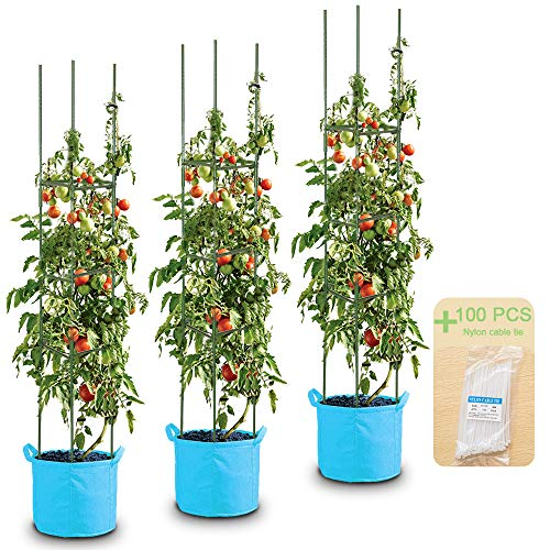 LEBOO 3-Pack(61inch) Vegetable Trellis Tomato Cages Plant Supports, Adjustable...