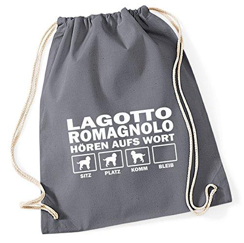 Siviwonder Turnbeutel - LAGOTTO ROMAGNOLO Wasserhund Italienischer Trüffelhund Italien - HÖREN AUFS WORT Baumwoll Tasche Beutel grau