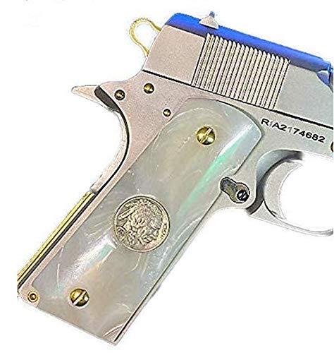 Premium Gun Grips Full Size 1911 Grips Pearl w/Buffalo Nickel Inserts Colt Gov. & Clones Taurus, S&W, Springfield, Rock Island Mother of Pearl