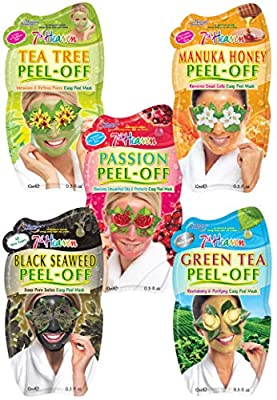 7th Heaven Pamper Peel Off Face Mask Pack with Tea Tree, Manuka Honey, Passionflower, Black Seaweed and Green Tea for All Skin Types from Montagne Jeunesse