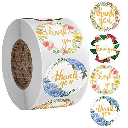 500 pegatinas de agradecimiento hechas a mano, con flores, etiquetas adhesivas redondas con flor, para regalos, bodas, bricolaje sobre sellado de caramelos y galletas (4 diseños)