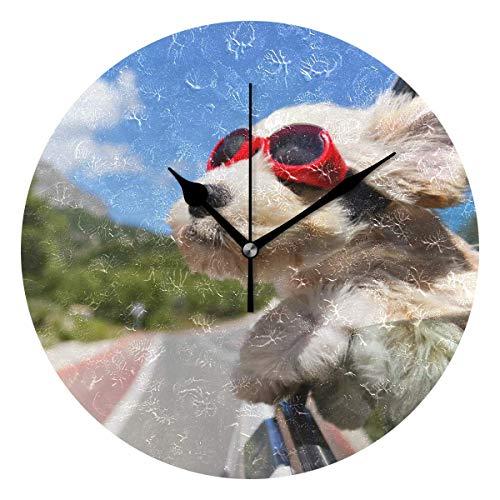 ALLdelete# Wall Clock Decoración para el hogar Perro con Gafas de Sol Patrón Relojes de Pared para Sala de Estar Decoración del Dormitorio con Pilas