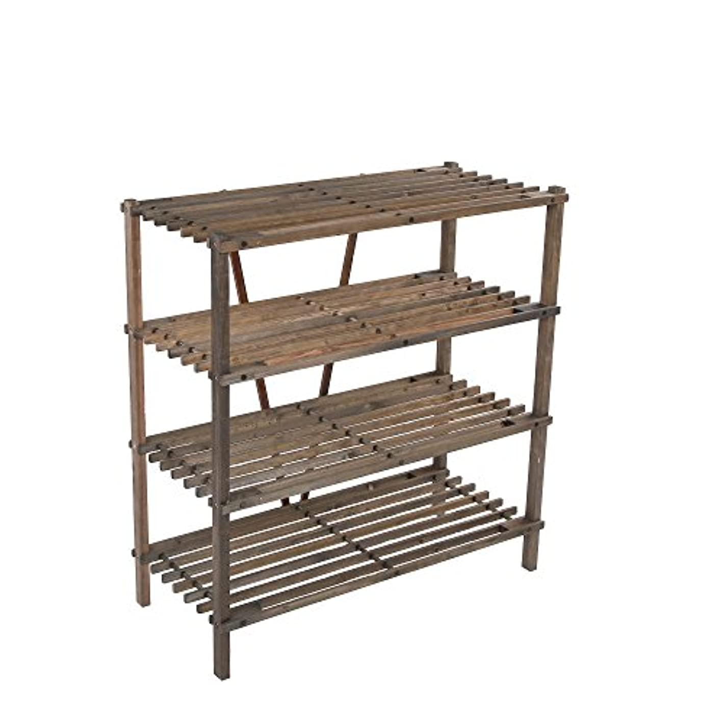 ULTIDECO 4-Tier Solid Wood Shoe Rack, Household Shoes Tower and Storage Organizer Cabinet in Carbon Black stain