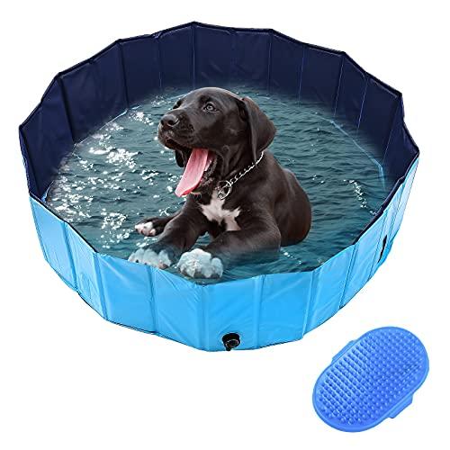 DBREAKS Hundepool Doggy Pool 160CM, Hunde Swimmingpool Blau, Badewanne Pool Dog, Schwimmbecken Planschbecken für Hund mit Haustier Badebürste