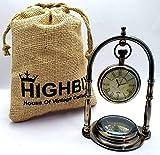 Highbix, orologio da tavolo con bussola vintage marittima in ottone antico Victoria London con borsa di iuta classica