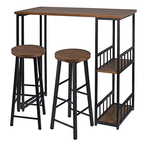 eSituro Juegos de Muebles Altas 1 Comedor Mesa y 2 Taburetes de Bar, Mesa de Bar Mesa de Cafetería Barra Cocina con Estructura de Metal con 2 Estantes 120x50x105cm Haya Oscura SBST0399+SBST0395-2