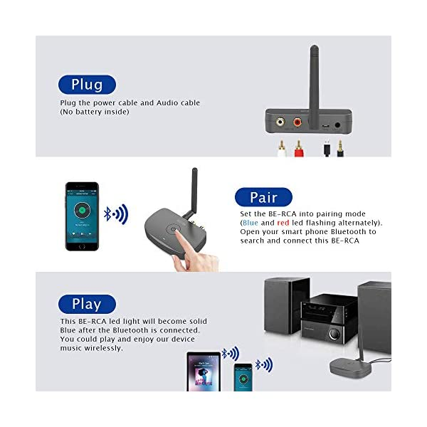 Bluetooth Audio Adapter, HiFi Wireless Music Reciver, Bluetooth 5.0 Receiver for Wired Speakers or Home Music Streaming Stereo System 5
