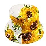 Sombrero De Cubo Gorras De Sol Negro Blanco Girasol Estampad