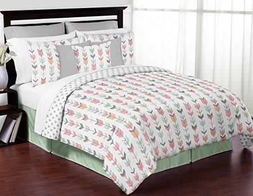 Sweet Jojo Designs Grey, Coral and Mint Woodland Arrow Print Girls 3 Piece Childrens Teen Full/Queen Bedding Set