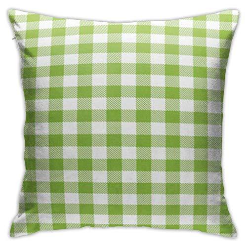 Cup Off Throw Pillow Cover Green Gingham and Buffalo Check Plaid Pattern Manteles Sello Ropa de Dormir Productos Funda de Almohada Funda de cojín