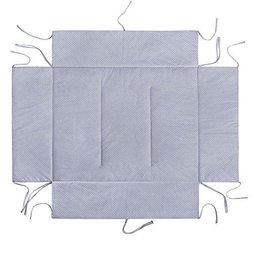 Lulando matrasbeschermer met zijbekleding (75 x 100 cm of 100 x 100 cm). Knuffelig zacht en warm gevoerd. 75 x 100 cm Witte stippen/grijs