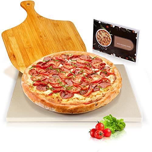 Piedra para Pizza 38 x 30 cm en Cordierita, Kit de Pizza con Piedra, Pala de Bambú y Recetas, Herramienta de Cocina para Horno, Parrilla y Bandeja para Hornear, Envoltorio Exquisito, Regalos Perfectos