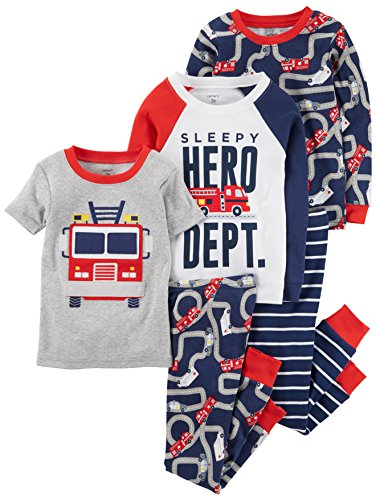 Carter's Baby Boys' 5-Piece Cotton Snug-Fit Pajamas, Firetruck, 18 Months