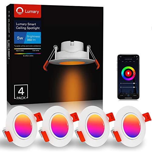 Lumary Einbaustrahler LED Spot Dimmbar - Smart RGBWW Schwenkbar Ultra Flach 5W LED Einbauleuchten RGB Warmweiße Kaltweiß Einbauspot,350lm Decken Einbauleuchte Kompatibel mit Alexa/Google Home(4PCS)
