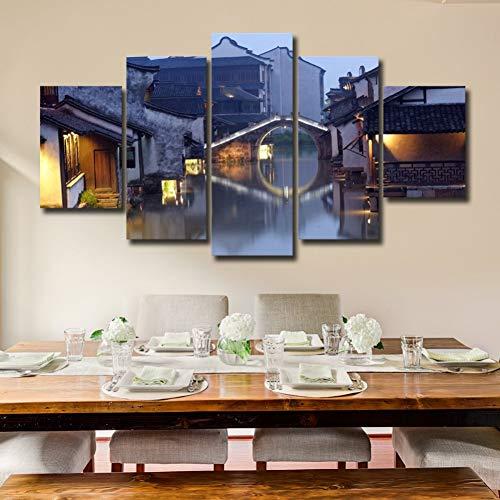 N / A AQSSJJ 5 Pintura Decorativa Decoración del Hogar 5 Piezas Retro Casa Y Puente Paisaje Pinturas Artwork