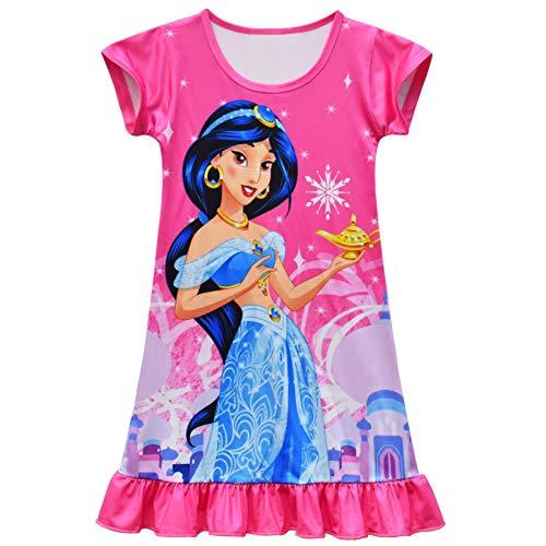 WNQY Little Girls Princess Dress Toddler Princess Cartoon Casual Short Sleeve Shirtdress (Rose 1, 3-4T)