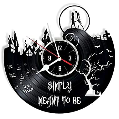 Nightmare Before Christmas vinyl wall clock - great gift for birthday, anniversary or any other occasion - beautiful home decor - unique design that made out of retro vinyl record