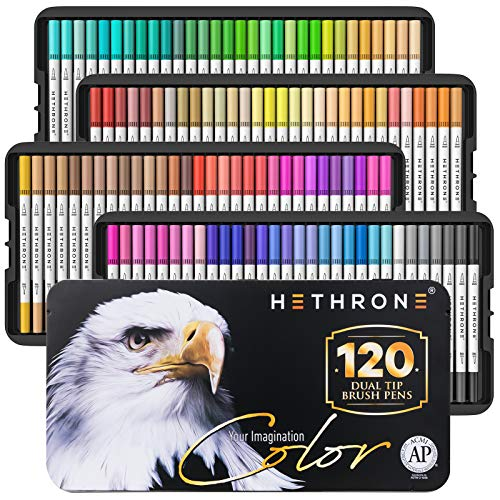 120 Colors Dual Tip Brush Pens with Brush Highlighter and Fine Tip Markers Art for Adults Kids for Coloring Books Calligraphy Lettering