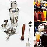 DIY & EDC MULTITOOLS Negro Cocktail Shaker Set fabricante del mezclador de Martini espíritus Muddler Bar Tamiz