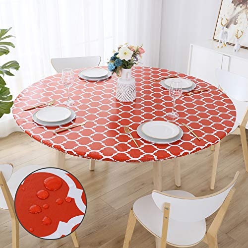 smiry Round Fitted Vinyl Tablecloth - Elastic Edged Flannel Backed Tablecloth, Waterproof Wipeable Red Moroccan Trellis Pattern Table Cloth for Outdoor Indoor Room
