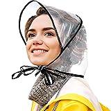 12 Pièces Bonnet de Pluie avec Visière Bonnet Transparent Imperméable pour Tenue de Jour de Pluie de Femmes Dames (Noir)