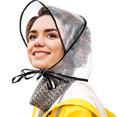SATINIOR 12 Stücke Regenhaube mit Visier wasserdichte Klare Haube für Damen Lady Regenbekleidung (Schwarz)