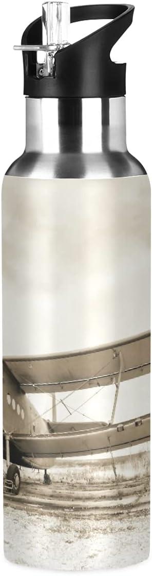 ADKing - Botella de agua con diseño de avión vintage de 20 onzas para deportes a prueba de fugas, botella de agua sin BPA, acero inoxidable