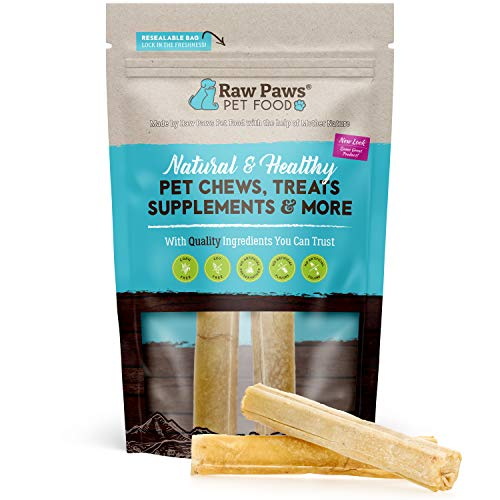 Raw Paws Pet Premium Compressed Rawhide Sticks for Puppies and Small, Medium and Large Dogs- Packed in The USA - Natural Beef Hide Dog Chews - Safe Pressed Rawhide Rolls (5 Inch, 10 Count)
