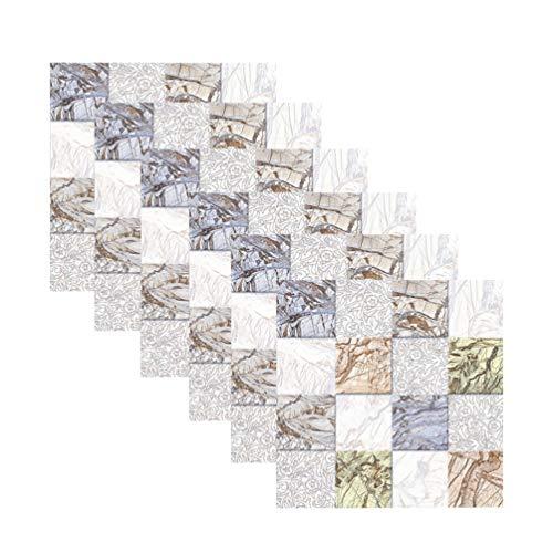 Garneck 6 Piezas Azulejos de Salpicaduras de Cocina pelar Palo mármol baldosas Estante Adhesivo Pegatinas de Pared Pegatinas de Pared Mural