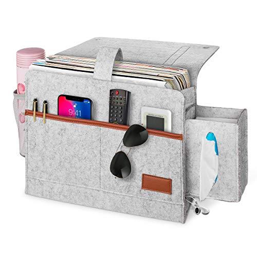 ANBET Betttasche aus Filz, Schlafsofa Organizer hängender Aufbewahrungsbehälter mit 4 Kabellöchern, Tissue-Box für Bettgitter, Sofa, Etagenbett