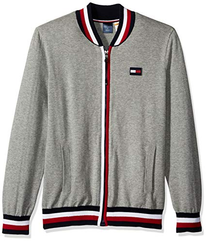 Tommy Hilfiger Men's Adaptive Baseball Sweater with Magnetic Zipper, Sport Grey Heather, Small
